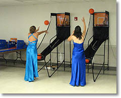 Playing Arcade Games in Prom Gowns